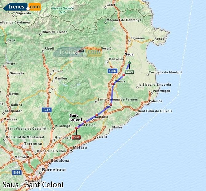 Ampliar mapa Trenes Saus Sant Celoni