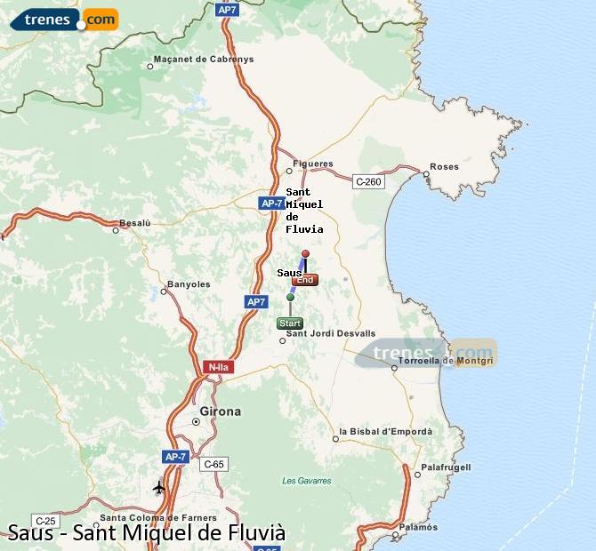 Ampliar mapa Trenes Saus Sant Miquel de Fluvià