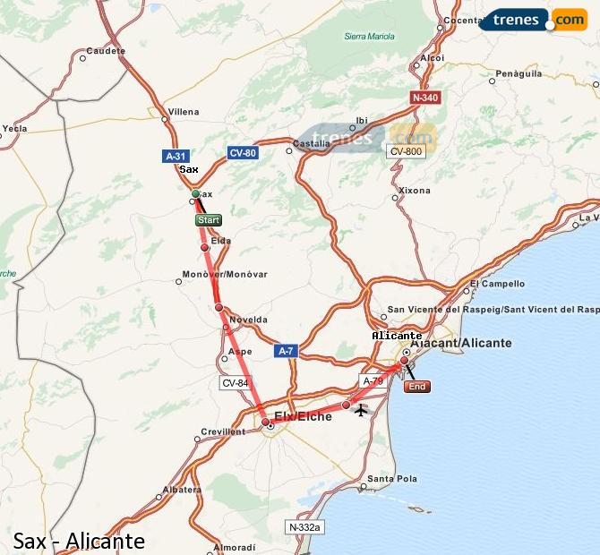 Enlarge map Trains Sax to Alicante