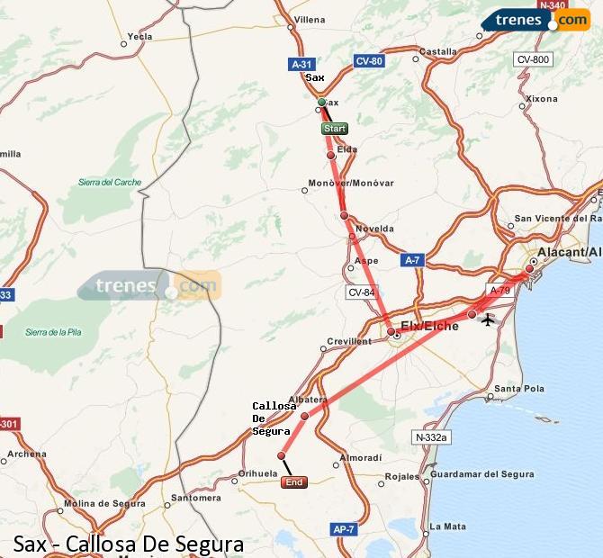Ampliar mapa Comboios Sax Callosa De Segura