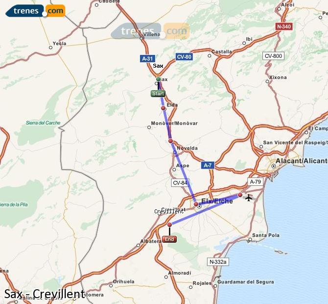 Enlarge map Trains Sax to Crevillent