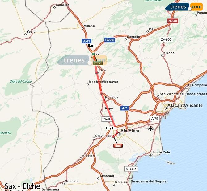 Enlarge map Trains Sax to Elche