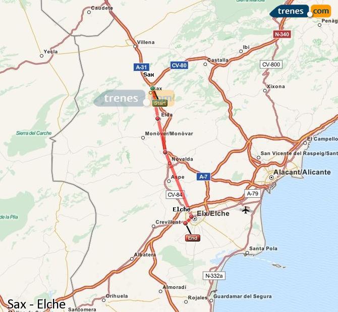 Ampliar mapa Comboios Sax Elche