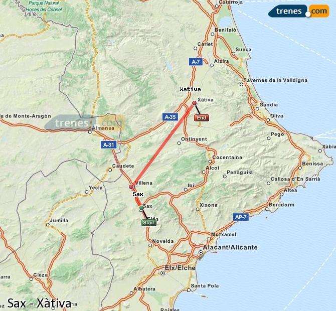 Ampliar mapa Trenes Sax Xàtiva