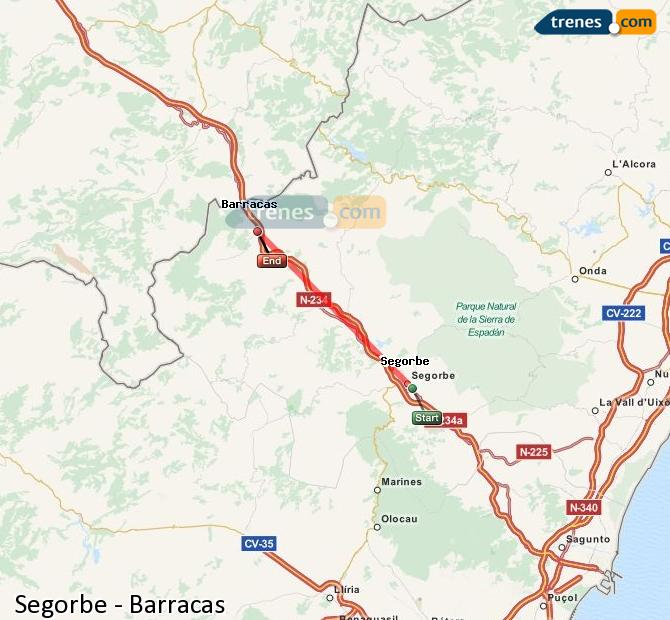 Enlarge map Trains Segorbe to Barracks