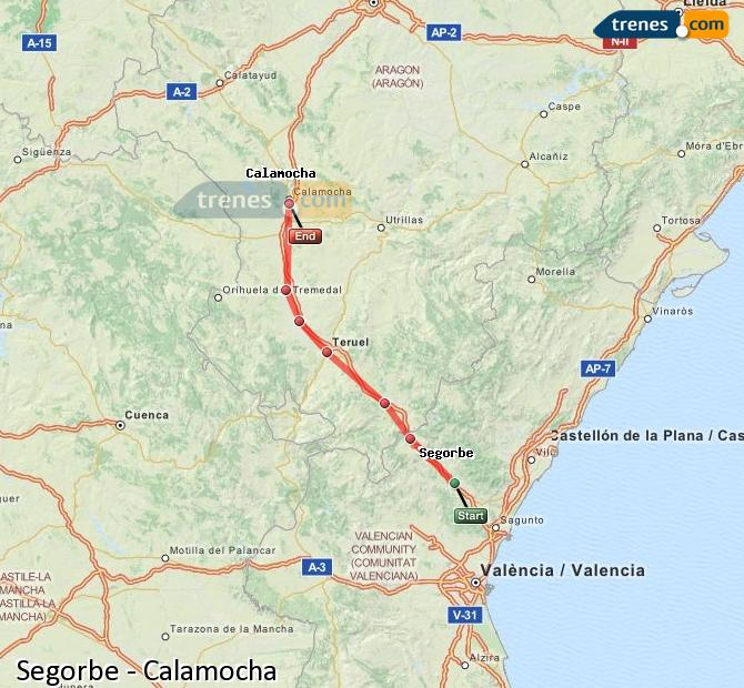 Agrandir la carte Trains Segorbe Calamocha
