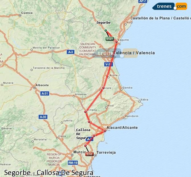 Enlarge map Trains Segorbe to Callosa De Segura