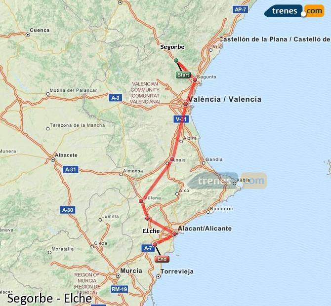 Ingrandisci la mappa Treni Segorbe Elche