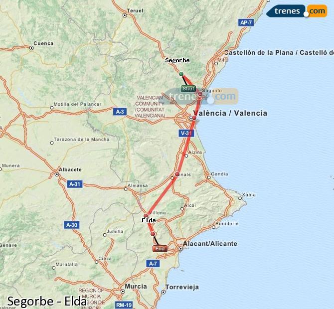 Agrandir la carte Trains Segorbe Elda