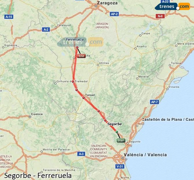 Enlarge map Trains Segorbe to Ferreruela