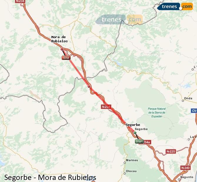 Enlarge map Trains Segorbe to Mora de Rubielos