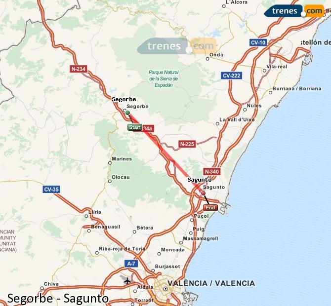 Enlarge map Trains Segorbe to Sagunto