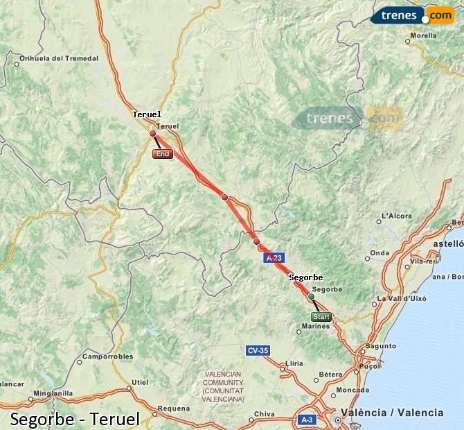 Enlarge map Trains Segorbe to Teruel