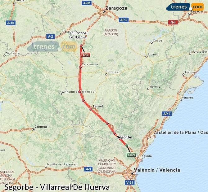 Ingrandisci la mappa Treni Segorbe Villarreal De Huerva