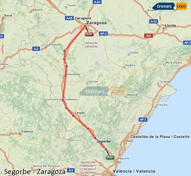 Karte vergrößern Züge Segorbe Zaragoza