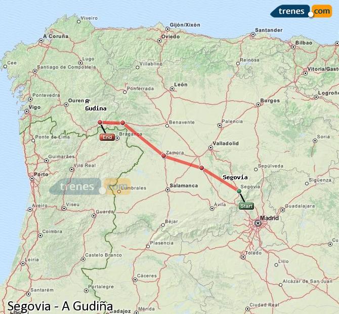 Ampliar mapa Trenes Segovia A Gudiña