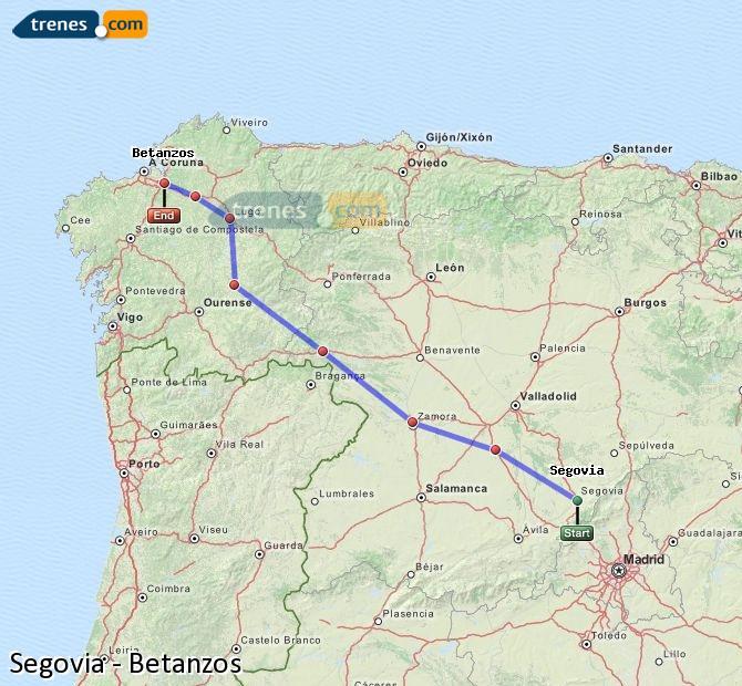 Ingrandisci la mappa Treni Segovia Betanzos