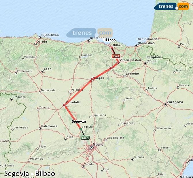 Ampliar mapa Trenes Segovia Bilbao