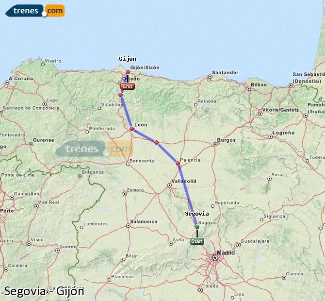 Ingrandisci la mappa Treni Segovia Gijón