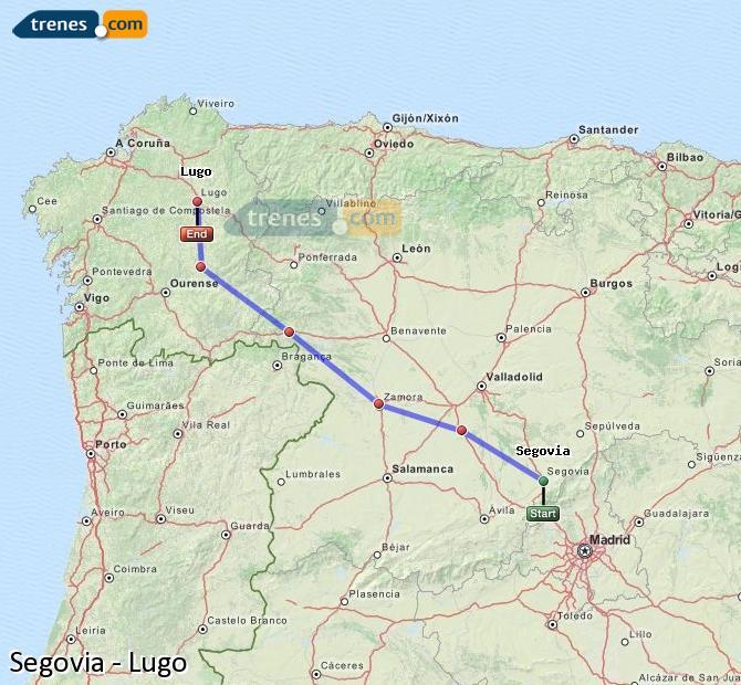 Karte vergrößern Züge Segovia Lugo