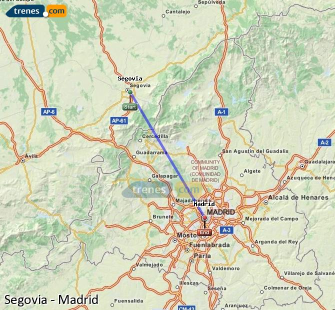 Enlarge map Trains Segovia to Madrid