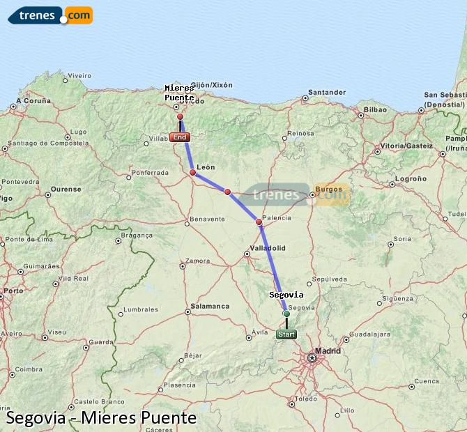 Enlarge map Trains Segovia to Mieres Puente