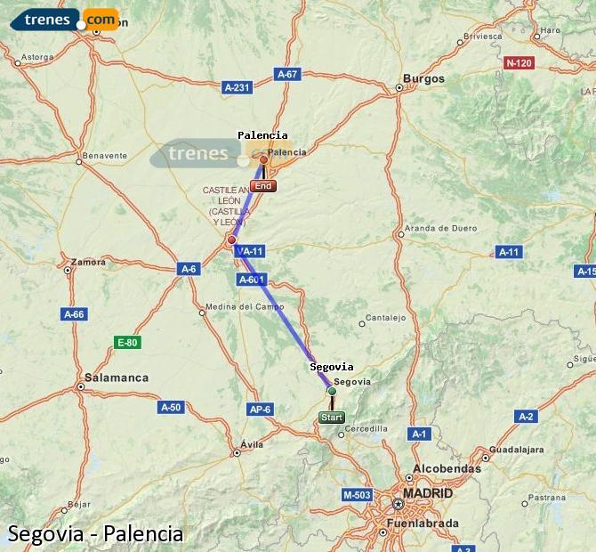 Ampliar mapa Comboios Segovia Palencia