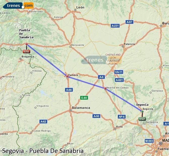 Ampliar mapa Trenes Segovia Puebla De Sanabria