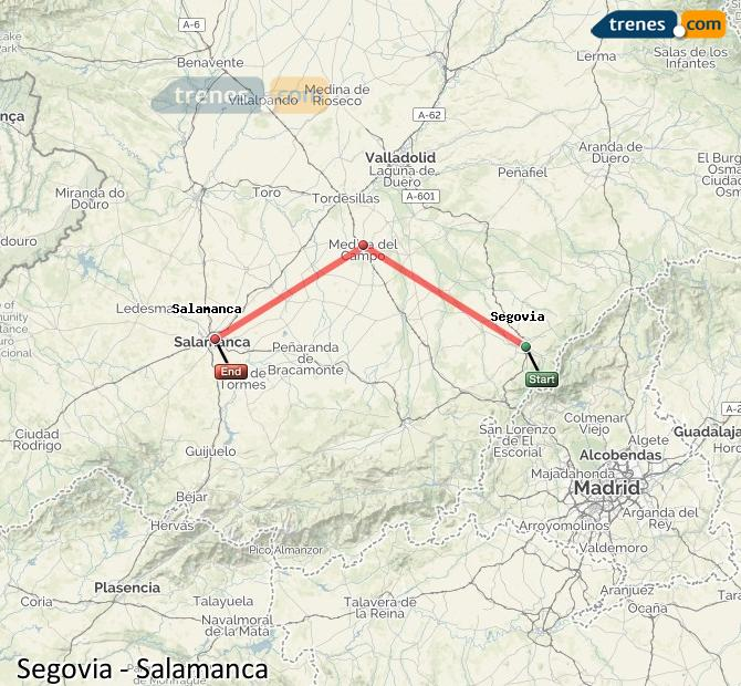 Salamanca Spanien Karte.Günstige Segovia Salamanca Züge Zugtickets Ab 9 60 Trenes Com