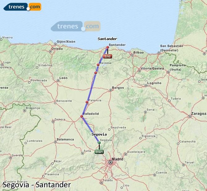 Ampliar mapa Trenes Segovia Santander