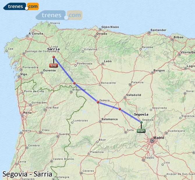 Enlarge map Trains Segovia to Sarria