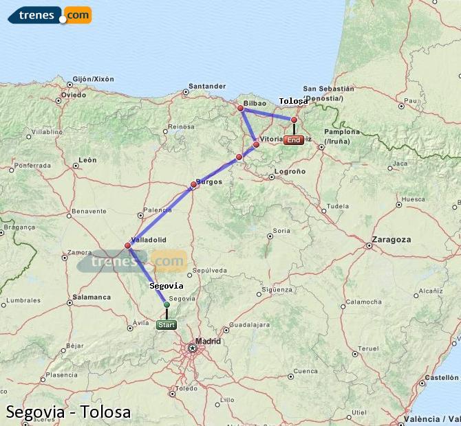 Enlarge map Trains Segovia to Tolosa