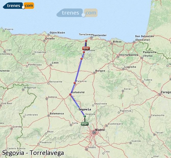 Ampliar mapa Trenes Segovia Torrelavega