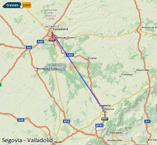 Enlarge map Trains Segovia to Valladolid