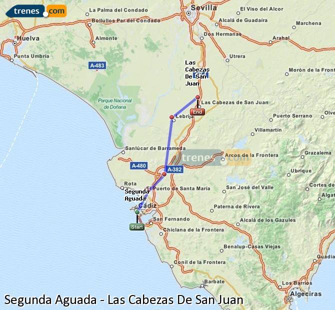 Ampliar mapa Comboios Segunda Aguada Las Cabezas De San Juan