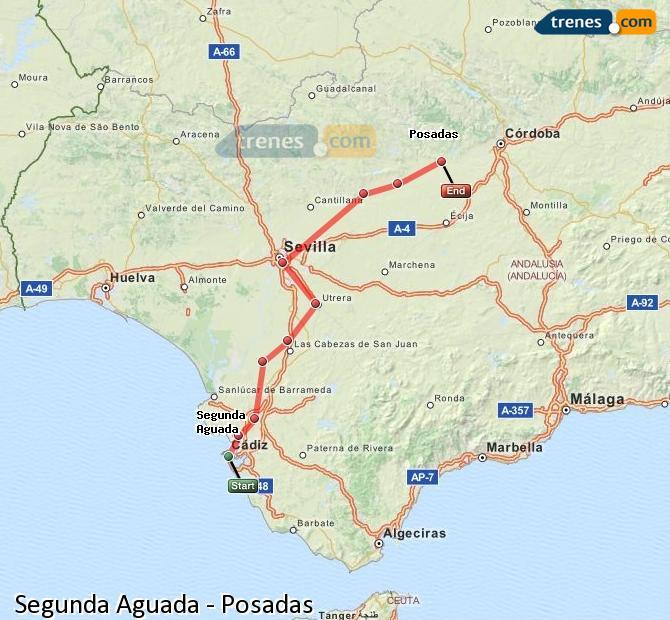 Karte vergrößern Züge Segunda Aguada Posadas