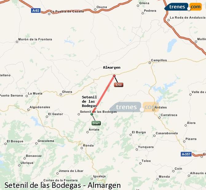 Enlarge map Trains Setenil de las Bodegas to Almargen