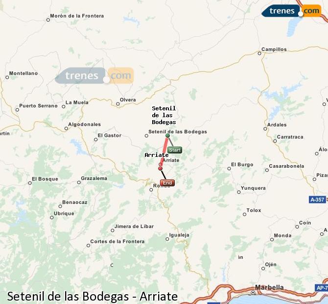 Ampliar mapa Trenes Setenil de las Bodegas Arriate