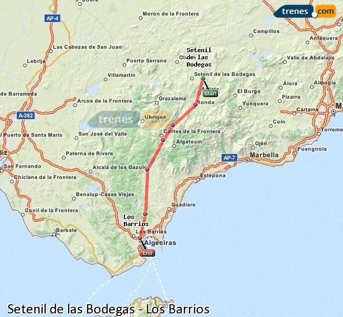 Enlarge map Trains Setenil de las Bodegas to Los Barrios