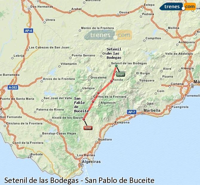 Enlarge map Trains Setenil de las Bodegas to San Pablo de Buceite
