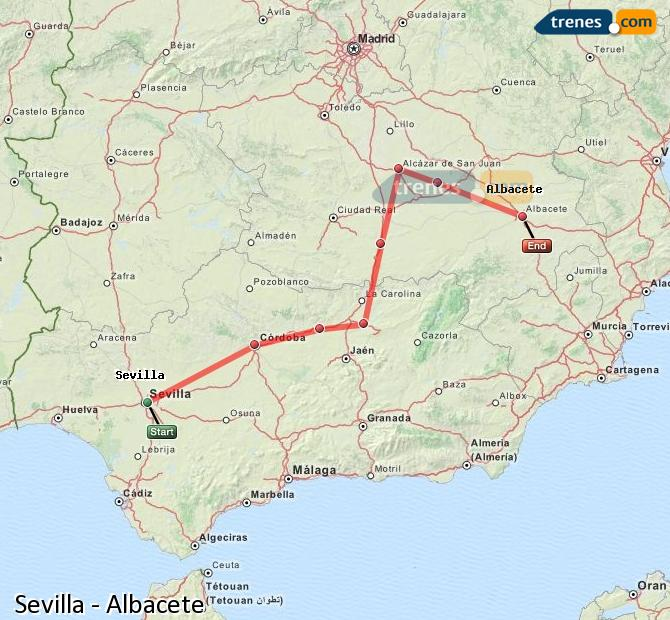 Enlarge map Trains Seville to Albacete