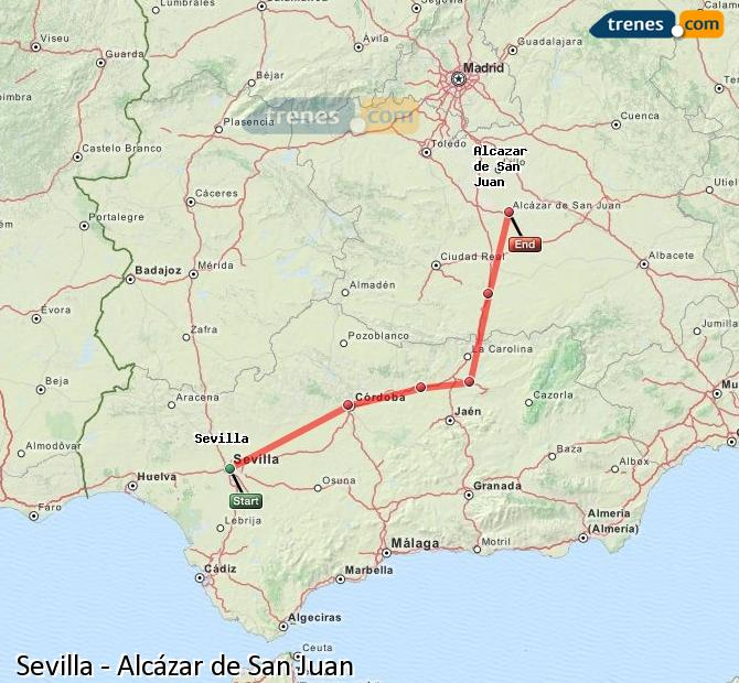 Enlarge map Trains Seville to Alcazar de San Juan