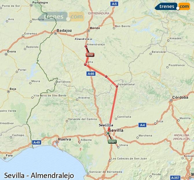 Karte vergrößern Züge Sevilla Almendralejo