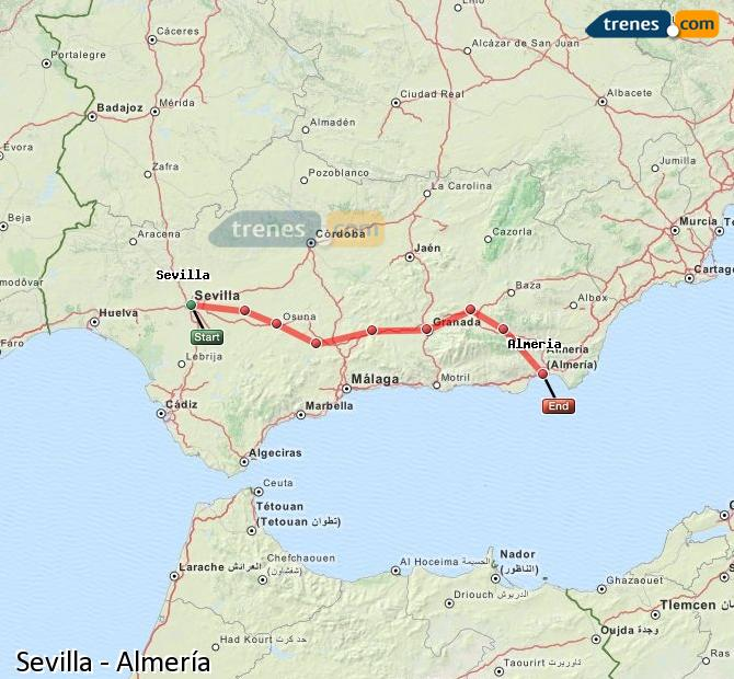Enlarge map Trains Seville to Almeria