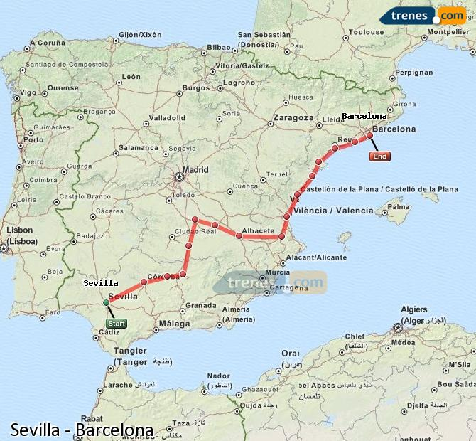 Enlarge map Trains Seville to Barcelona