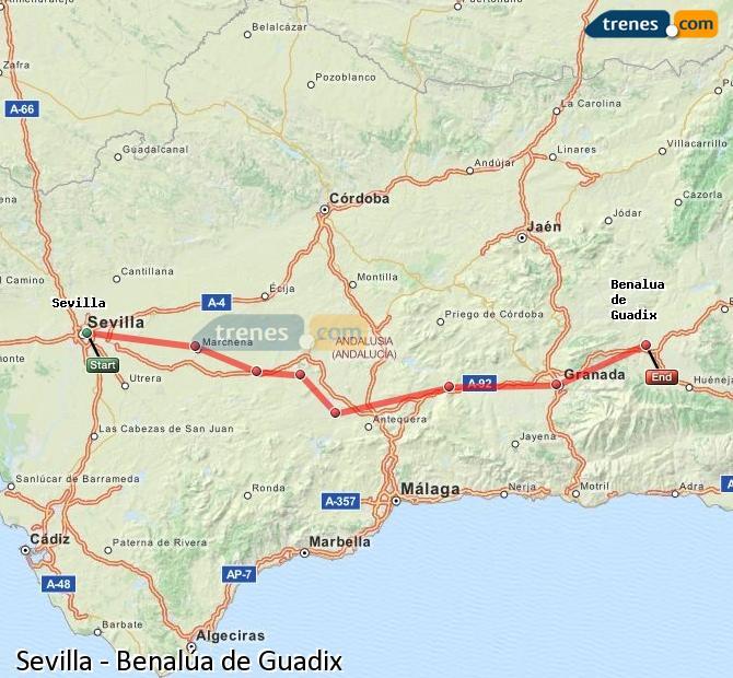 Karte vergrößern Züge Sevilla Benalúa de Guadix