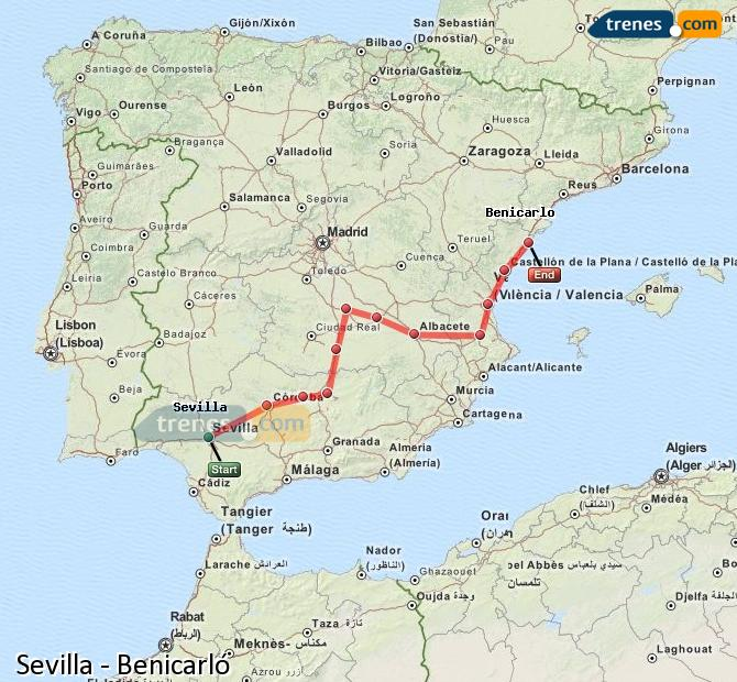 Enlarge map Trains Seville to Benicarló
