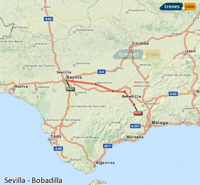 Enlarge map Trains Seville to Bobadilla