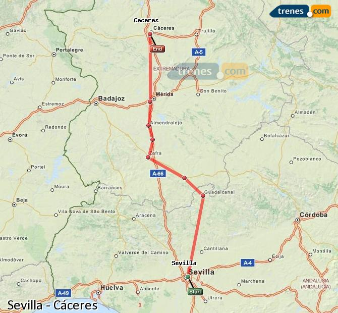 Karte vergrößern Züge Sevilla Cáceres