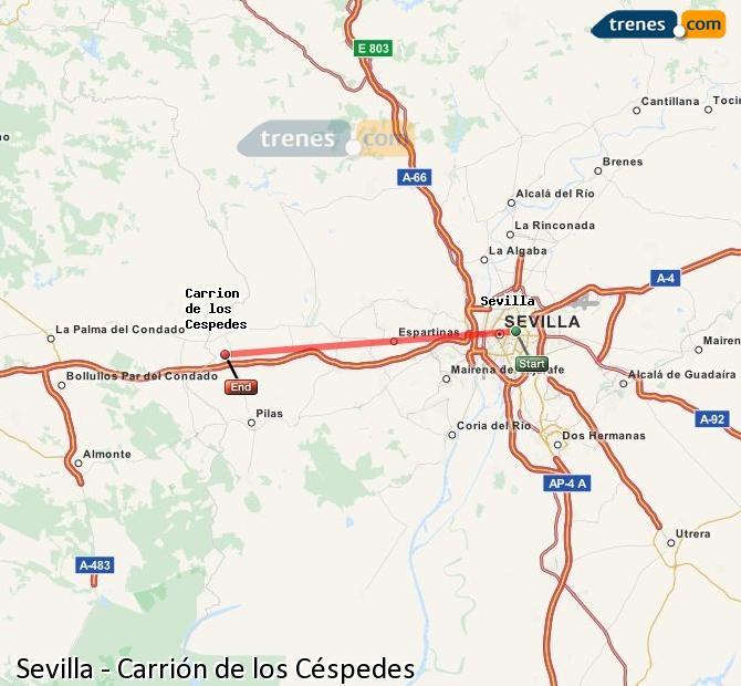 Agrandir la carte Trains Sevilla Carrión de los Céspedes